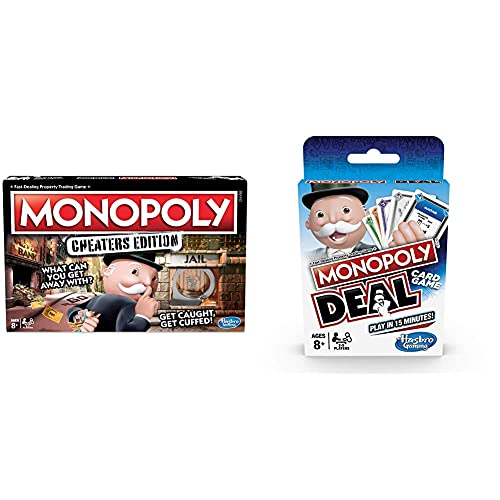 Hasbro Gaming Monopoly Game: Cheaters Edition Board Game Ages 8 and Up & Monopoly Deal Card Game