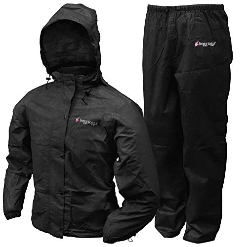 FROGG TOGGS Women's All Purpose Rain Suit, Black Jacket/Black Pants, Small
