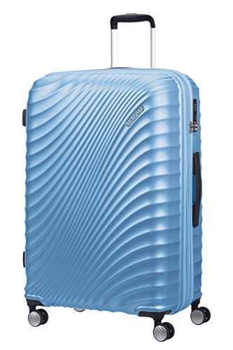 American Tourister Jetglam - Spinner L Expandable Suitcase, 77 cm, 109 L, Blue (Metallic Powder Blue)