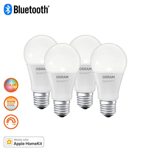 Osram Smart+ Lampadina LED Compatibile con Apple HomeKit, Goccia, E27, 60 W, Luce Colorata RGBW, 4 Pezzi