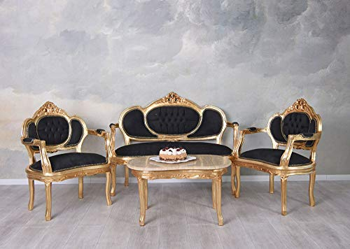 Sofagarnitur Sitzgruppe Barock Sofa Sessel Couchtisch Couchgarnitur cat499a02 Palazzo Exklusiv