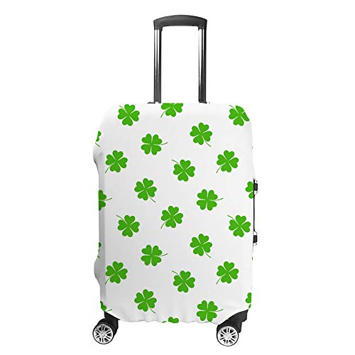 CHEHONG Suitcase Cover Luggage Cover Hand Drawn Clovers Green Travel Trolley Case Protective Washable Polyester Fiber Elastic Dustproof Fits 29-32 Inch