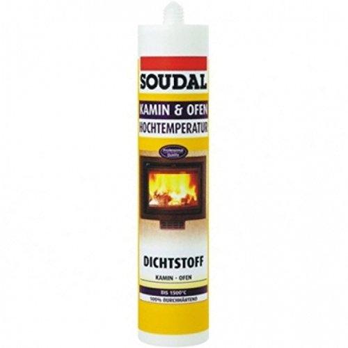 Soudal Kamin & Ofen, extrem hitzebeständige Abdichtungspaste auf Natriumsilikat-Basis, 300ml Kartusche, Farbe: Schwarz