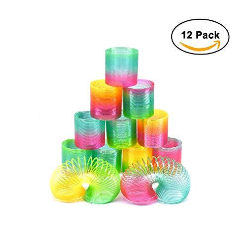 Erlliyeu12 Stück Regenbogenspirale Springs Magic Rainbow Puzzle Lernspielzeug für Party Tasche Füllstoffe Spielzeug, Kunststoff