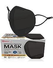 Iris Ohyama, Pakket met 20 wegwerp FFP2-maskers, Verstelbare oorlussen tegen irritatie, Neusklem, 3 lagen - Disposable Protective Mask 3D Mask IDM-B - Polypropyleen, Zwart, 16 x 11 cm