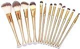 whitely Juego de 6 brochas de maquillaje pequeñas, pincel reparador de sombras de ojos y otras herramientas de belleza, sirena (13 dorados)