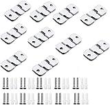 BlueXP 20 Piezas Soportes de Montaje Ocultos Acero Inoxidable Colgadores para Cuadro Mueble Conector de Enclavamiento Soporte de Pared con Tornillos para Marco de Foto Cabecero de Cama Espejo Pequeño