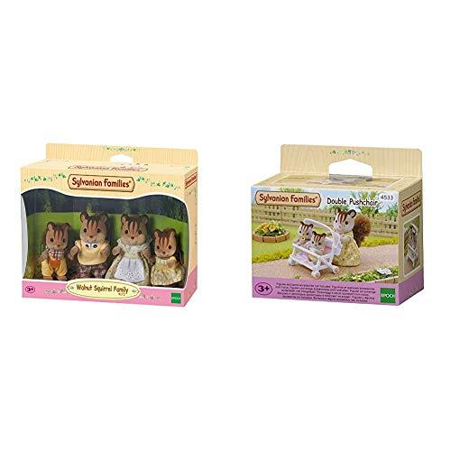 SYLVANIAN FAMILIES Walnut Squirrel Family Mini Muñecas y Accesorios, (Epoch para Imaginar 4172) + 4533 Carrito para Gemelos [Importado de Alemania]