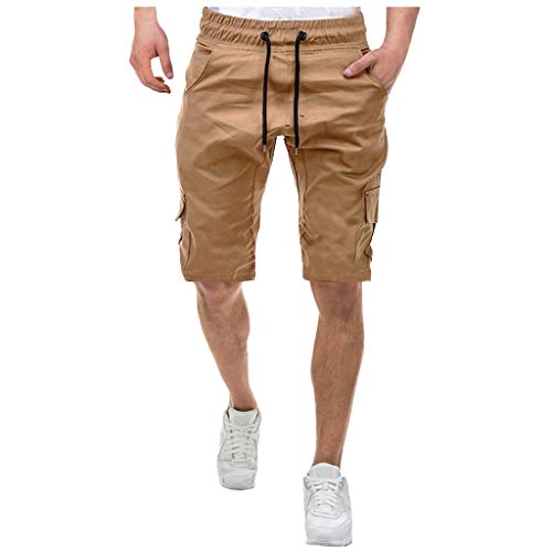KIMODO Herren Kordelzug Sport Shorts Bandage Lose Jogginghose einfarbig Freizeit Ranger Stoffhose (Khaki, L)