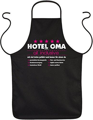 OMA Motiv Schürze DANKESCHÖN mit Herz Hotel Oma - all inclusive - mit viel Liebe … OMA VERSTEHER - bedanken Geschenke zum Geburtstag Weihnachten - Print Kochschürze Latzschürze in schwarz : )