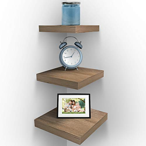 J JACKCUBE DESIGN Floating Hanging Square Shelves Wall Mounted Rustic Wood Cube Display Shelf Shadow Boxes Decorative Boho Home Décor for Living Room, Bedroom, Office, Set of 4 (Brown) - MK571B