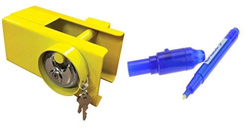 MSA Strapazierfähiges Schloss für Anhängerkupplung und Schlüssel für Wohnwagen / Anhänger + Sicherheits-UV-Stift