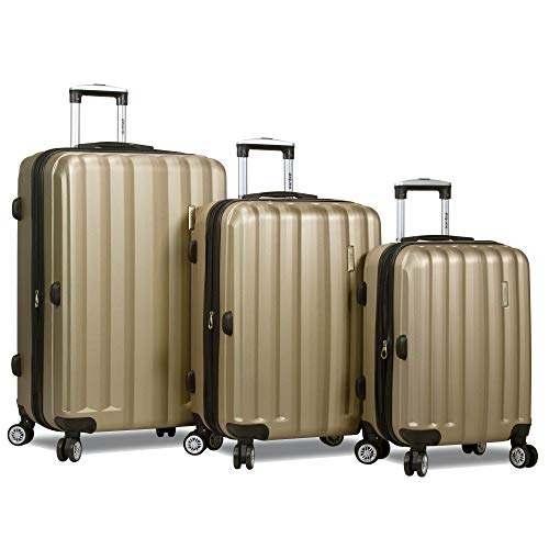 Dejuno Camden Hardside 3-piece Expandable Spinner Luggage Set, Champagne