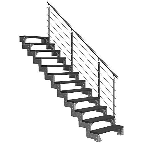 DOLLE Außentreppe Gardentop mit 12 Stufen | Geschosshöhe 216-264 cm │ Trimax® Stufenauflage Anthrazit │ 100 cm | mit Prova-Geländer