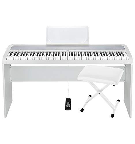 Korg B1 Piano digital, 88 teclas, soporte y asiento, color blanco