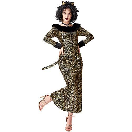 SXFJF Adultos Traje De Las Seoras De Halloween, Halloween Disfrazarse Leopard Cat Girl Cosplay Traje Atractivo del Gato De Cola Disfraz,S
