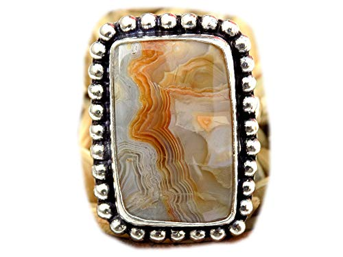 The Best Jewellery Crazy Lace Agate Ring, Silver Plated Ring, Handmade Ring, Women Jewelry, (Size- 8 USA) BRS-11114