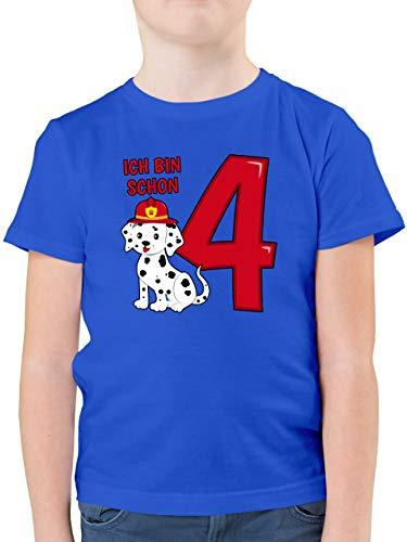 Kindergeburtstag Geschenk - Ich Bin Schon 4 Feuerwehr Hund - 140 (9/11 Jahre) - Royalblau - Feuerwehr Junge 4 Jahre - F130K - Kinder Tshirts und T-Shirt für Jungen