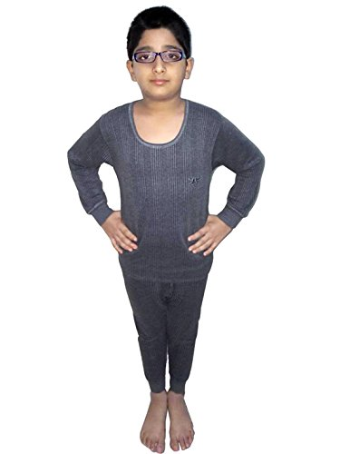 HAP Kings Round Neck Grey Melange Winter Thermal Set of Top Trouser/Thermal for Boys and Girls/Kids Thermal