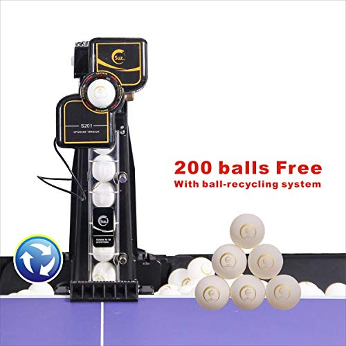 Suz Table Tennis Robot with Net Ping Pong Ball Machine S201 Automatic Table Tennis Machine for...