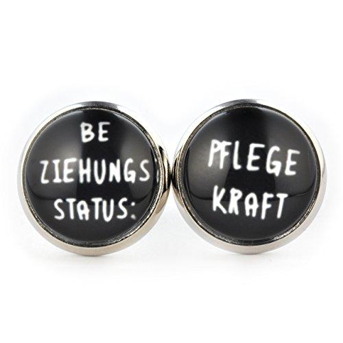 SCHMUCKZUCKER Damen Ohrstecker Beziehungsstatus Pflegekraft Modeschmuck Ohrringe silber-farben schwarz 14mm