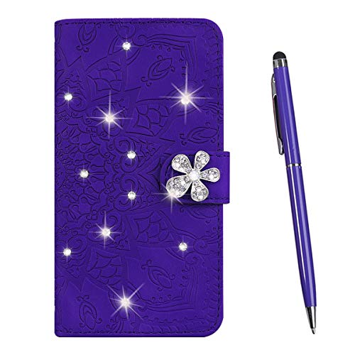 TOUCASA Compatible with Samsung Galaxy A6 Plus 2018 Case, [Bling Diamond Flower] Notebook Wallet Case Cover PU Leather Flip Magnetic Kickstand Card Slots Folio Protection Case (Purple)