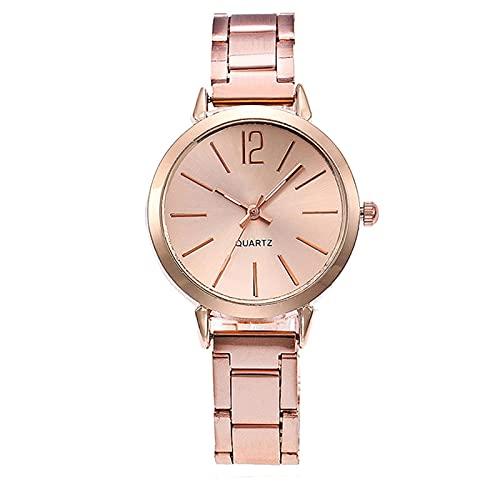 Qqkkabb Reloj de pulsera de cuarzo femenino de moda redondo de acero inoxidable reloj de mujer de lujo oro rosa reloj de señora Orologio Donna