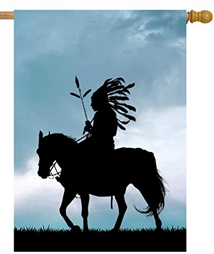 ShineSnow Tribal Culture Native American Indian at Sunset on Horse House Flag 28' x 40' Double Sided Polyester Welcome Large Yard Garden Flag Banners for Patio Lawn Home Outdoor Decor