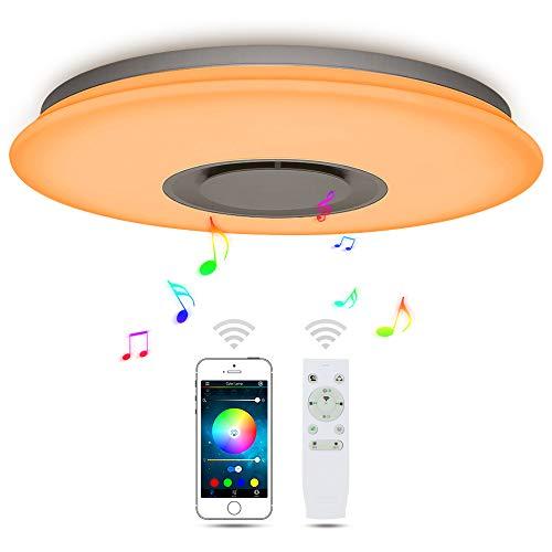 36W LED Plafondlampen Muziek Bluetooth Luidspreker met Smartphone APP Control, RGB Kleurverandering, Flush Mount voor Woonkamer, Slaapkamer, Eetkamer