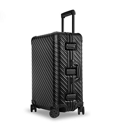 SFBBBO luggage suitcase 100% Aluminum Alloy Business Travel Malas de viagem com rodinhas Lock Cabin Trolley Suitcase Carry on Luggage 26' Black