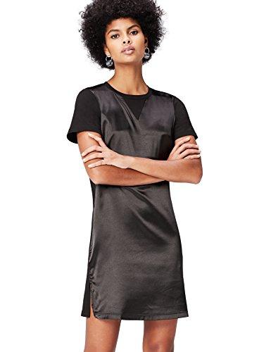 Amazon-Marke: find. Kleid Damen T-Shirt-Design und mattglänzende Front, Schwarz, 36, Label: S