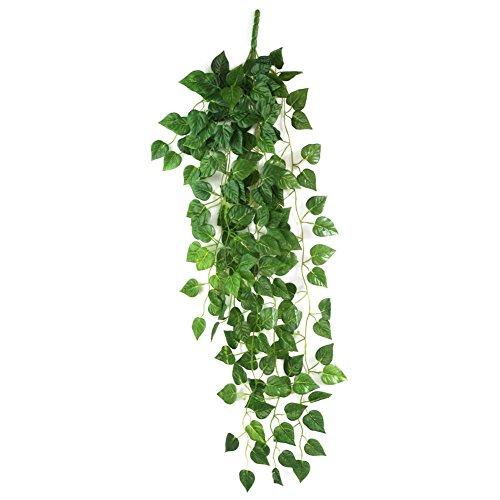 HugeStore 90cm Kunstpflanze Künstliche Weinrebe Blätter Künstlicher Efeu Hänger Efeugirlande Pflanze Deko 3 Stück - 3