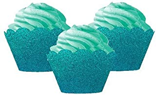12pk Turquoise Glitter Baking Cup Liner Decorative Wrappers