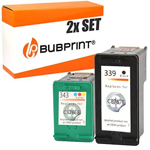 2 Bubprint Druckerpatronen kompatibel für HP 339 343 für Deskjet 5940 6500 6840 6980 Officejet 7210 7310 K7100 Photosmart 2575 2610 8050 8150 8450