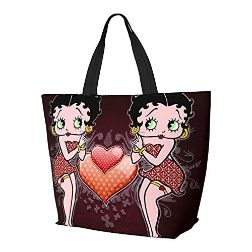 Betty Boop de dibujos animados multifuncional plegable y reutilizable de gran capacidad con cremallera para las mujeres, bolsa de hombro, bolsa de compras, bolsa de viaje, bolsa de ordenador