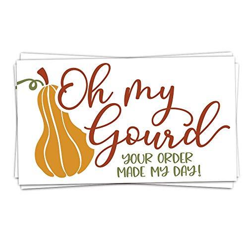50 Oh My Gourd, Fall Your Order Made My Day Karten (8,9 x 5,1 cm) Dankeskarten für die Unterstützung von My Small Business – Kunden-Dankeschön für Bestellkarten – kleines Online-Business-Paket Einlage