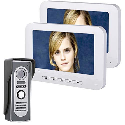 JaidWefj Video Türsprechanlage Türklingel Gegensprechanlage System mit 2 Monitor/7 Zoll Monitor mit Verdrahteter Kamera im Freien/Touch-Taste/Nachtsicht