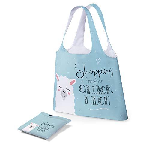 Preis am Stiel Tasche - Shopping Macht glücklich   Einkaufstasche faltbar   Schultertasche Damen   Mädchen Taschen Kinder   Tasche mit Aufdruck   Lama Geschenk   Shopping Bag   Geschenk für Frauen
