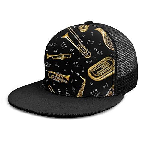 Gorra de bisbol Trombn Msica Instrumentos Musicales 3D Ajustable Hip Hop Snapback Sombrero de ala Plana Gorras de bisbol