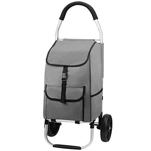 mfavour Stabiler Einkaufstrolley, Einkaufsroller klappbar Schieben/Ziehen, Einkaufswagen 2 räder mit Abnehmbarer Oxford-Tasche, 45 kg, 45 l, Grau