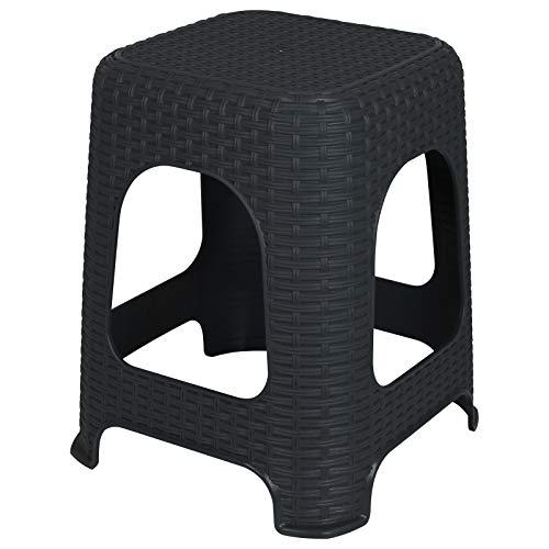 TW24 Hocker Monaco Rattan Optik Kunststoff mit Farbauswahl 150kg Badhocker Anthrazit Weiß Sitzhocker Stuhl (Anthrazit)