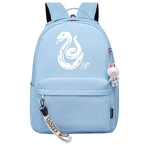 MMZ Mochila escolar femenina Mochila informal con estampado de patrón Slytherin Mochilas lindas para adolescentes para niñas Mochila escolar (azul)