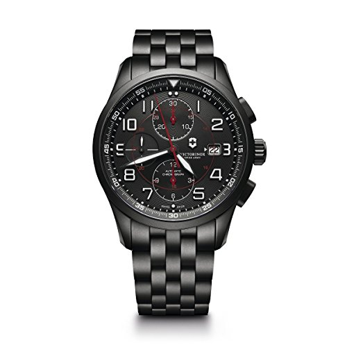 Victorinox Men's Airboss Black Edition Automatic-self-Wind Aviator Watch with Stainless-Steel Strap, 22 (Model: 241741)