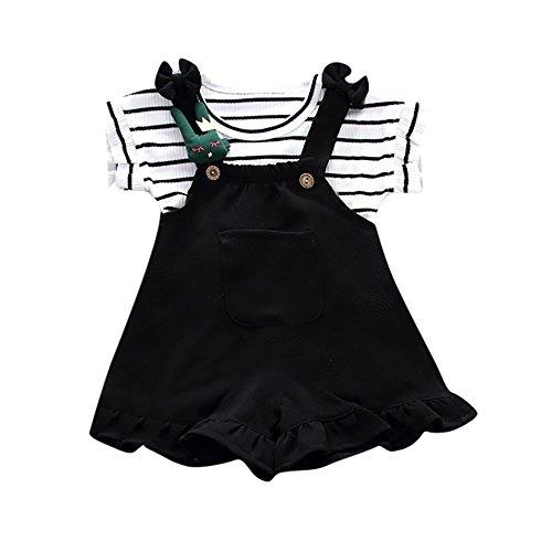 Pas Cher Vêtements enfants Été, 12 Mois Enfants bébé filles été rayé chemise à manches courtes + bretelles shorts ensemble Unisexe Chic Cadeau Saint-Patrick (Noir)