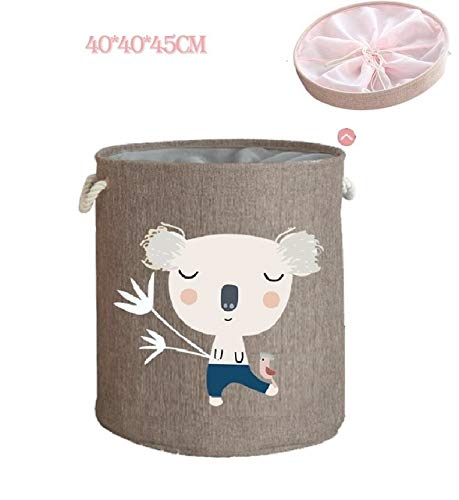 Mdsfe Large Folding Laundry Basket With Lid Toy Storage Baskets Bin For Kids Dog Toys Clothes Organizer Cute Animal Laundry bucket - koala