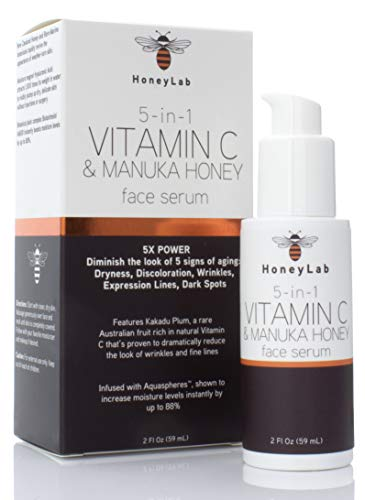 HoneyLab Vitamin C Face Serum with Hyaluronic Acid, Manuka Honey and peptides. Anti-aging serum contains Marine extracts that soften the look of dark spots, wrinkles and fine lines. 2oz bottle.