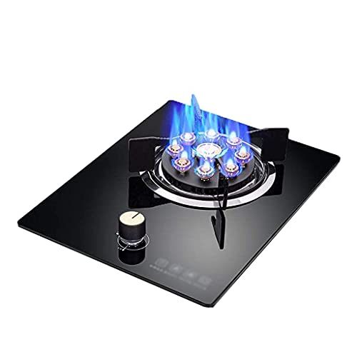 GPWDSN Campingspis, gasspis gasspis, 5,2 KW nio hålsbrännare, svart härdat glas gasspis, för hem kök bänkskiva/inbyggd enkel spis [Energiklass A] (B, LNG)