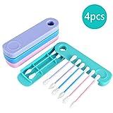 Nabance 4 PCS Coton-tige Réutilisable Coton-tige de Silicone Lavable Écologique Double Face Coton-Tige Propre Oreilles Cosmetic...