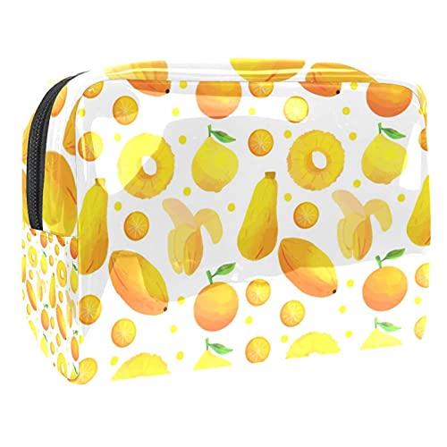 Bolsa de cosméticos de PVC, diseño de elefante indio con cremallera, bolsa de maquillaje para viajes, baño y organización, Fruit Banana Orange Papaya Lemon, 18.5x7.5x13cm/7.3x3x5.1in,