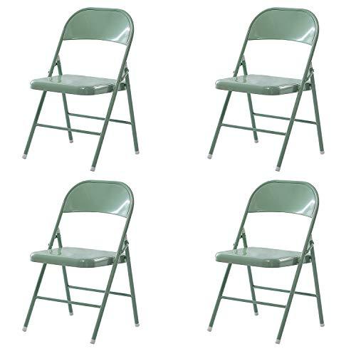 LeChamp Stahl-Klappstuhl mit starkem Metallrahmen, platzsparender Schreibtischstuhl für Gäste, Besucher und Konferenzen, temporärer Sitz (grün, 4)